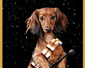 Digital Print Dachshund Chewbacca Star Wars Pop Art