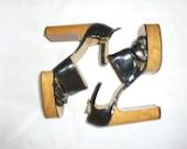 SALE -38% 70's disco wooden platform heels black patent leather 7
