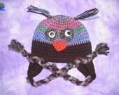 Baby - Toddler Bird Earflap Hat - Photo Prop - Great Gift - Jewel Tones