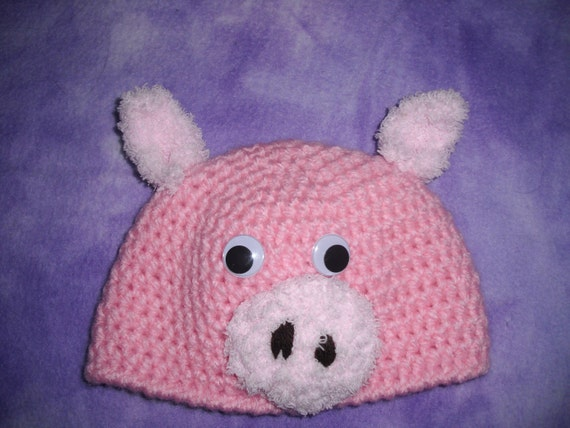 Baby - Toddler Fuzzy Pig Hat - Crochet Photo Prop - Great Gift