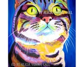 Tabby Cat, Pet Portrait, DawgArt, Cat Art, Pet Portrait Artist, Colorful Pet Portrait, Kitty Art, Pet Portrait Painting, Art Prints