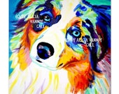 Australian Shepherd, Pet Portrait, DawgArt, Dog Art, Pet Portrait Artist, Colorful Pet Portrait, Aussie Art, Art Prints
