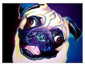 Pug, Pet Portrait, DawgArt, Dog Art, Pug Art, Pet Portrait Artist, Colorful Pet Portrait, Art Prints, Art, Pet Portrait Painting, Dog