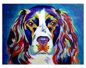 Springer Spaniel, Pet Portrait, DawgArt, Dog Art, Pet Portrait Artist, Colorful Pet Portrait, Springer Spaniel Art, Art Prints, Art, Dog