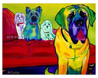 Pet Portrait, DawgArt, Dog Art, Cairn Terrier, Mastiff, Pet portrait artist, Colorful Pet Portrait, Pop Art, Art Prints