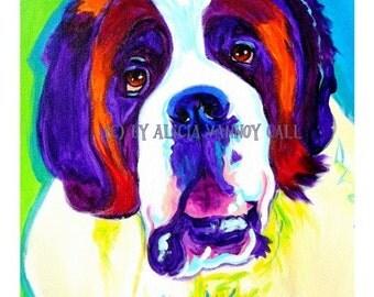 Saint Bernard, Pet Portrait, DawgArt, Dog Art, Saint Bernard Art, Pet Portrait Artist, Colorful Pet Portrait, Art Prints, Art