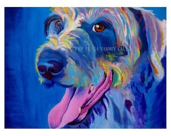 Irish Terrier, Irish Wolfhound, Pet Portrait, DawgArt, Dog Art, Pet Portrait Artist, Colorful Pet Portrait, Irish Terrier Art, , Art Prints