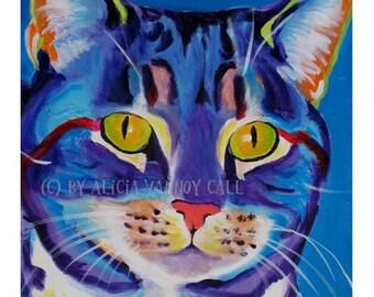 Tabby Cat, Pet Portrait, DawgArt, Cat Art, Cat, Pet Portrait Artist, Colorful Pet Portrait, Kitty Art, Pet Portrait Painting, Art Prints