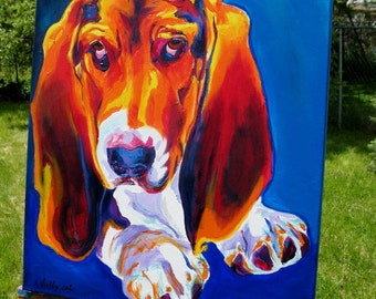 Basset Hound, Pet Portrait, DawgArt, Dog Art, Basset Art, Original Painting, Pet Portrait Art, Colorful Dog Art, Basset Painting