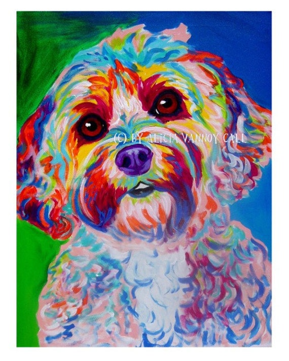Cockapoo pet portrait dawgart dog art pet portrait artist for Dog painting artist