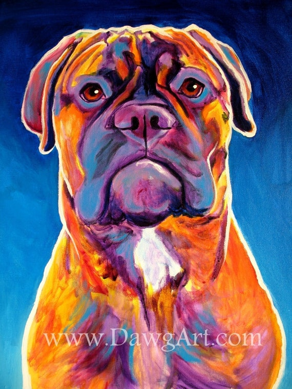 Colorful pet portrait bullmastiff dog art paper or for Dog painting artist