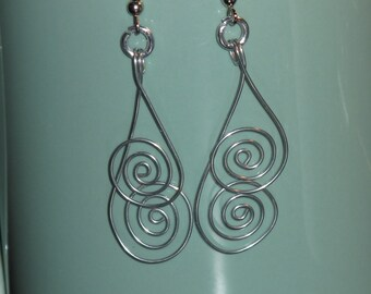 Wire Wrapped Upsidedown Spiral Earrings MADE to ORDER