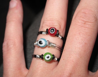 Wire Wrapped MAde To Order Colorful Eye See You Rings