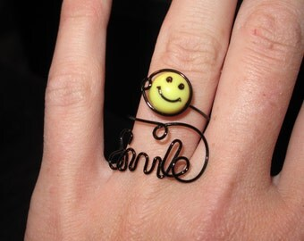 Wire Wrapped SMILE Spelled Adjustable Ring MADE to ORDER With Smiley Face