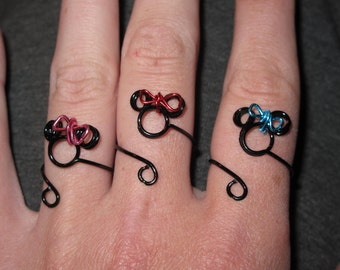 Wire Wrapped Adjustable Small Minnie Mouse Ring With Your Choice Of Bow
