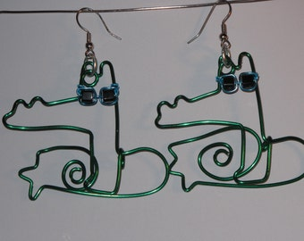 Wire Wrapped Alligator Earrings Wearing Sunglasses MADE to ORDER