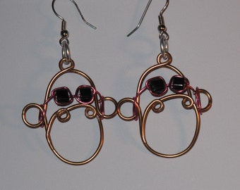 Wire Wrapped Monkey Head Earrings Wearing Sunglasses MADE to ORDER