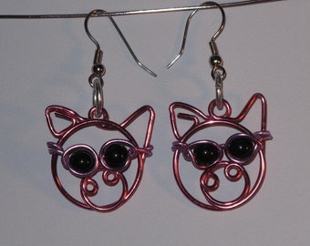 Wire Wrapped Pig Head Earrings Wearing Sunglasses MADE to ORDER