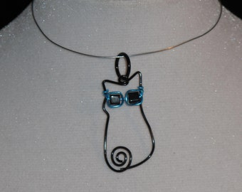 Wire Wrapped Cool Cat Pendant Wearing Sunglasses MADE to ORDER