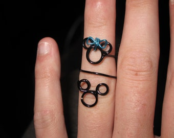 Wire Wrapped Minnie And Mickey Mouse Knuckle Or Regular Size Ring MADE to ORDER