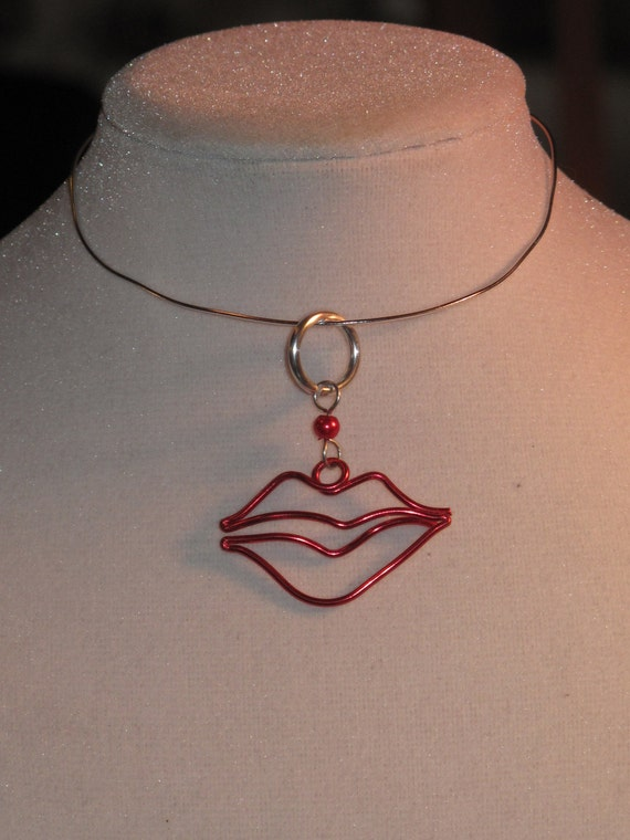 Wire Wrapped Hot Lips Pendant MADE to ORDER