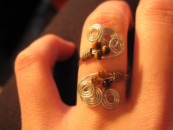 Wire Wrapped Silver Adjustable Ring With Tiger Eye Beads