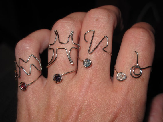 Zodiac Signs MADE to ORDER Wire Wrapped Adjustable Ring With Your Birthstone