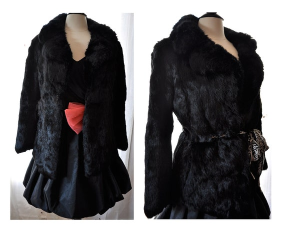 Vintage 100% French Rabbit Black Fur Coat by Saks SFAntastic