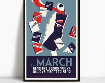WPA READ BOOKS Vintage poster Reprint 11x14