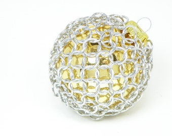 Gold Christmas Tree Ornament Glass And Chainmaille