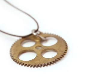 Steampunk Necklace - Made From Antique Clock Gear