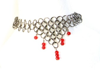 Ruby Red Renaissance Chainmaille Necklace Many Colors Of  Glass Beads To Choose From