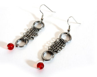 Chainmaille Earrings Blood Red Glass Beads
