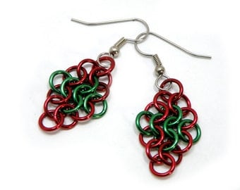 Christmas Earrings Red And Green Handmade Chainmaille Design