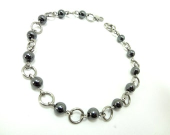 Ankle Bracelet Hematite Beads And Stainless Steel