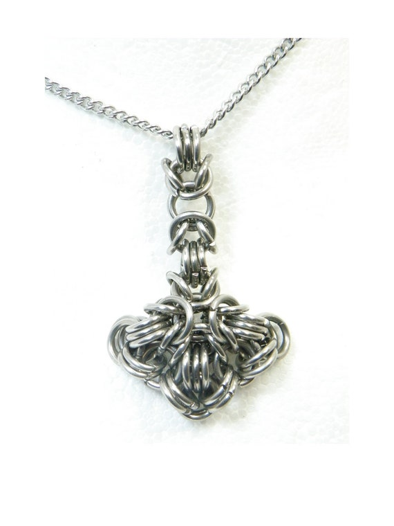 Thors Hammer Necklace Handmade Chainmaille Pendant