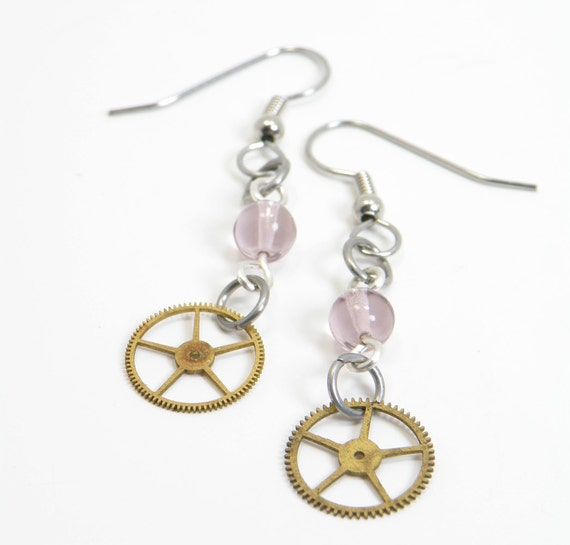 Steampunk Gear Earrings Gears And  Pink Glass Beads