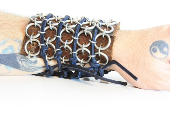 Steampunk Cuff Bracelet Leather and Chain One Of A Kind