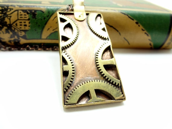 Steampunk Gear Necklace Copper And Brass