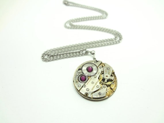 Steampunk Necklace Vintage Watch Movement From Imperial With Swarovski Crystal