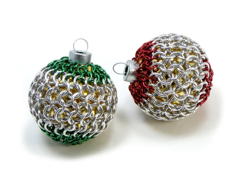 Christmas tree ornaments red and green chainmaille by for Red and green christmas tree