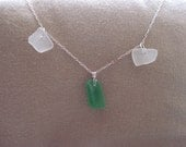 Green and white seaglass necklace