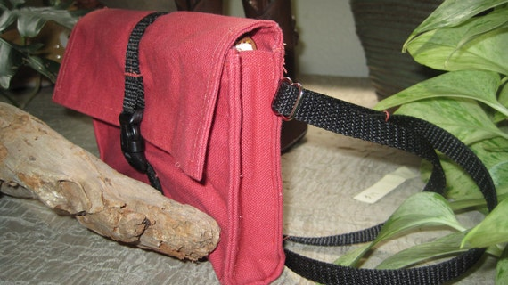 red canvas hip pack