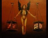 Brain Versus Heart Woman of Faith Surreal Acrylic  40'' X 40''  Original Canvas Painting-Mature