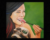 Woman Eating Sushi (Skull) Surreal Acrylic 3' X 3' Original Canvas Painting
