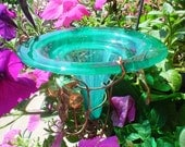 Home Decor, Outdoor, HUMMINGBIRD FEEDER, stained glass, copper, Emerald Green