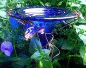 HUMMINGBIRD FEEDER, stained glass, copper, Cobalt Blue, 14K gold, Garden Art