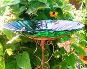 IRIDESCENT Glass, Garden BIRDBATH, Home Decor, copper, green, stained glass, Suncatcher