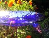 "Cobalt Blue BIRD BATH, 14K Gold, stained glass, 8.25"" diameter, fused glass, copper art, Garden Art, Home Decor"