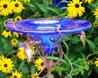 Blue BUTTERFLY FEEDER, stained glass, suncatcher, garden stake, copper